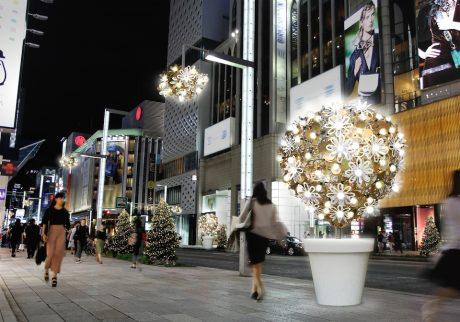 銀座の街を彩るイルミネーション。 「ヒカリミチ 〜光の庭園〜」が開催中。