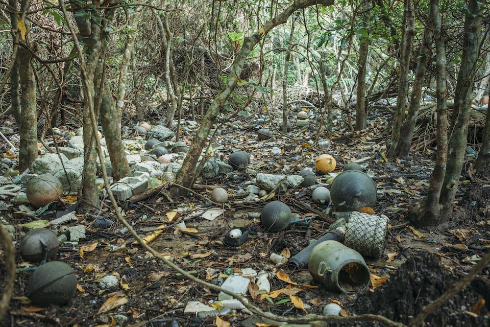 海岸沿いに漂着したゴミの数々。発芽した新芽がゴミに押しつぶされたり、根が腐食したりで、木々が育たない被害が深刻化している。