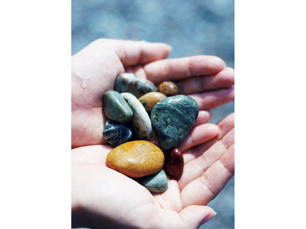石英、緑色岩、チャートなど、さまざまな石が見つかる。