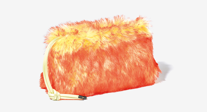 DRIES VAN NOTEN faux fur clutch bag