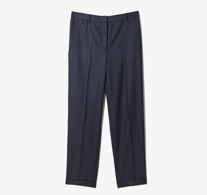 THE ROW navy tailored pants