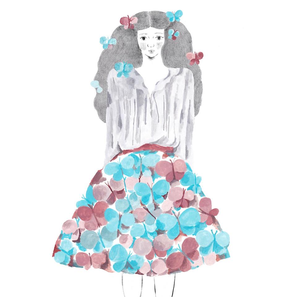 17蝶のスカート