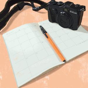カメラとスケジュール帳