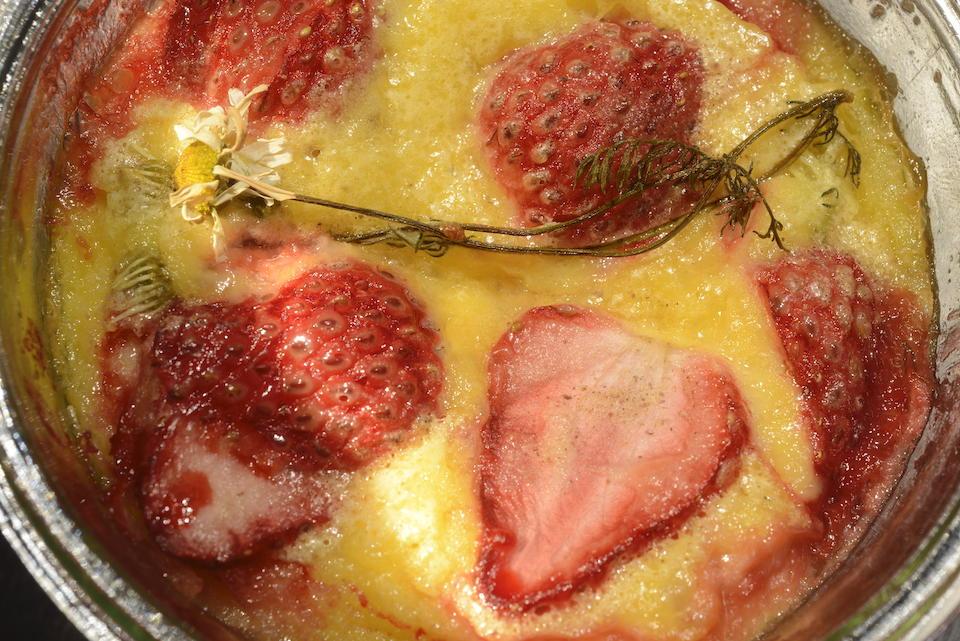 長田佳子の季節のハーブを愉しむお菓子。カモミールと苺のクラフティ