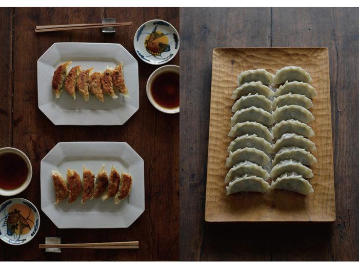 餃子を並べたのは山口和宏の木のトレイ(右)と、伊藤聡信の八角陶器皿(左)。