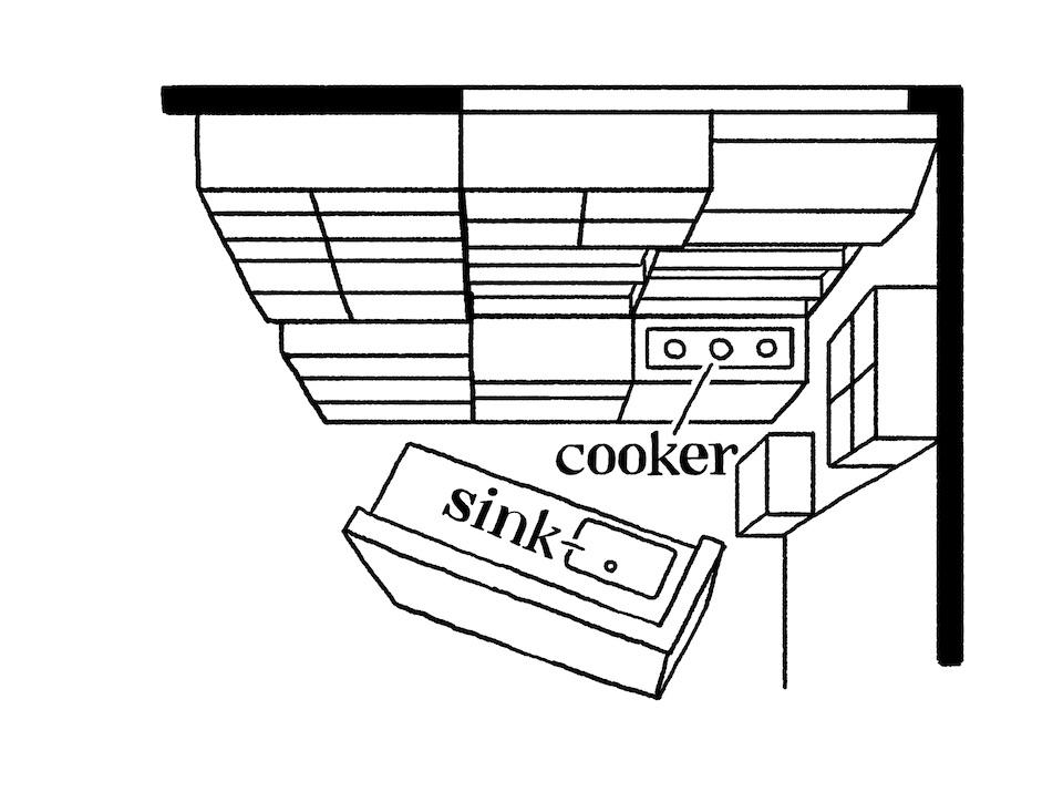 天井を抜いて梁を出して、開放感のある LDKに。窓側にあったシンクを移動し、 斜め45度に配置。作業台は業務用を選んだ。