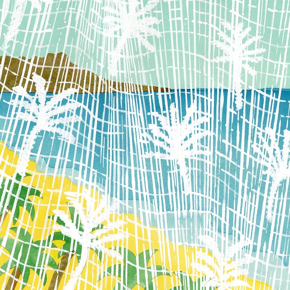 ヤシの木柄のカーテン