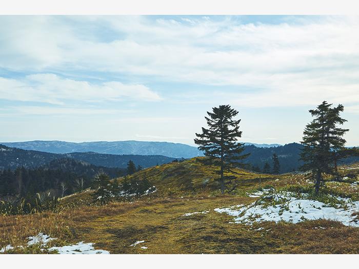 阿寒湖を見下ろす白湯山、その登山道の雄大さにも圧倒される。展望台付近は地熱帯で、雪が積もらない。