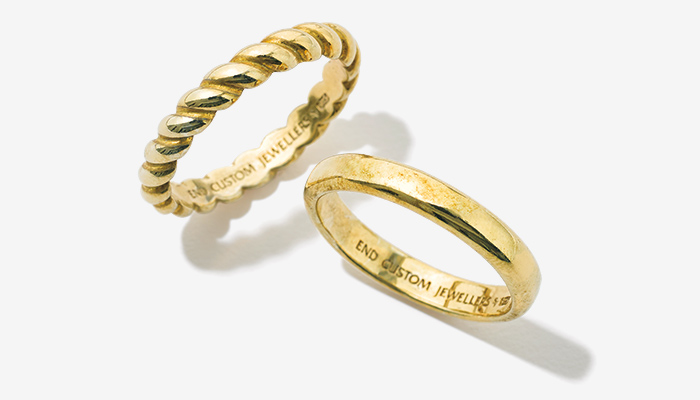 END silver gold ring set