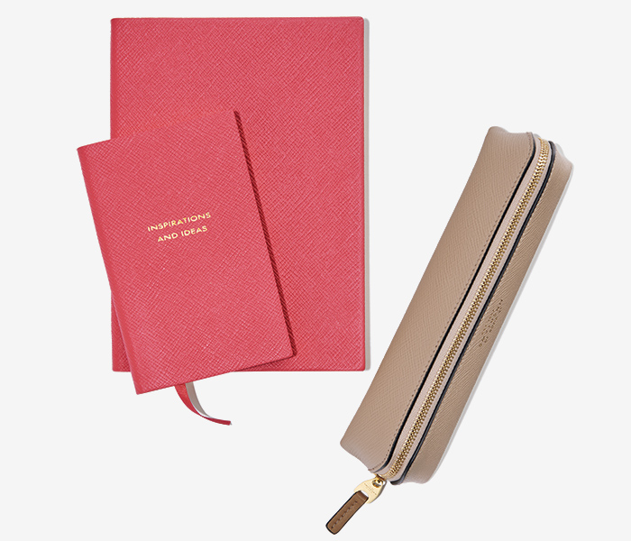SMYTHSON leather note and pen case