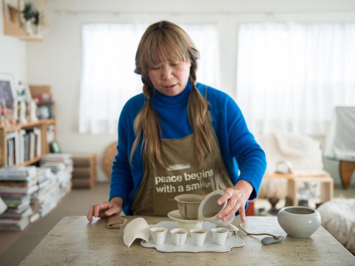 お気に入りの作家さんの作品や拾った石(!!)などで構成された福田さんの茶器セット。