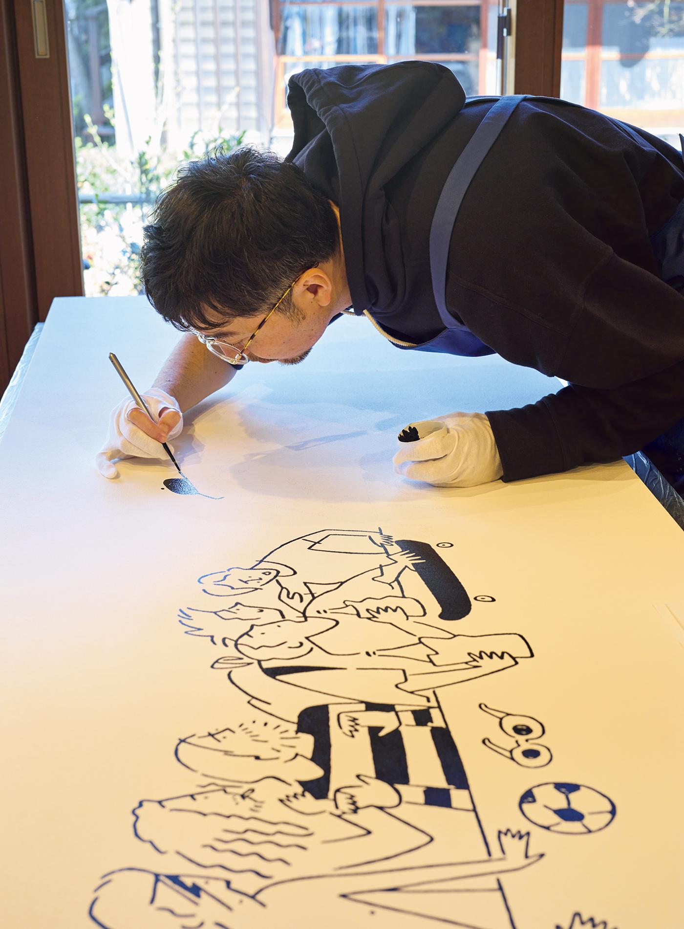 長場さんが影響を受けたアーティストが一つのテーブルに集合した『The Last Supper』。4mの巨大なキャンパス作品で、昨年開催した個展のタイトルにもなった。