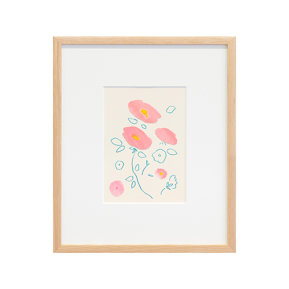 「初花や鳥もしらすにきのふけふ」 紙、水彩、色鉛筆 /撮影:稲口俊太(題名は加賀千代女の句)