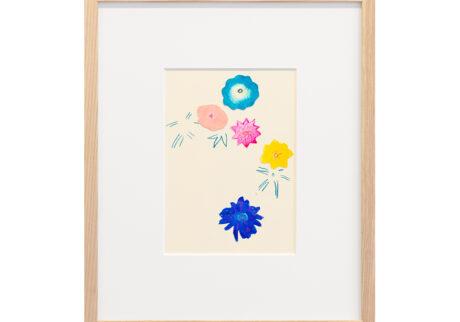 「しばらくは花の上なる月夜かな」 紙、水彩、色鉛筆 /撮影:稲口俊太