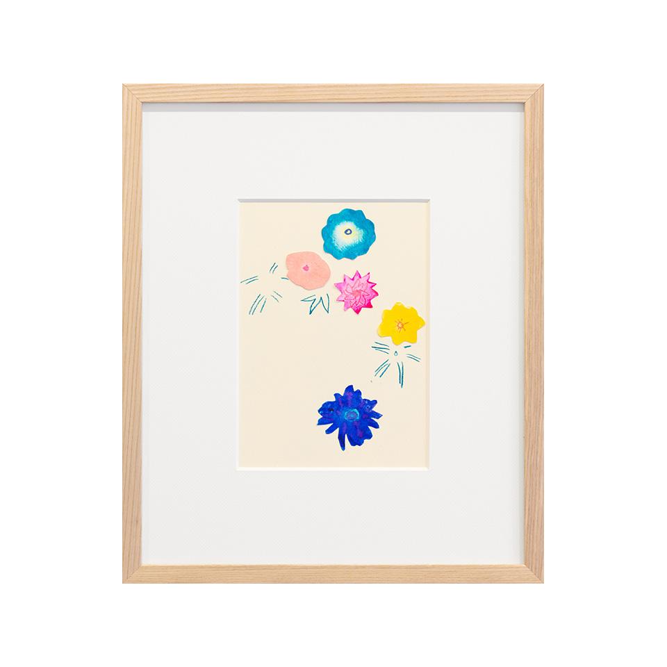 「しばらくは花の上なる月夜かな」 紙、水彩、色鉛筆 /撮影:稲口俊太(題名は松尾芭蕉の句)