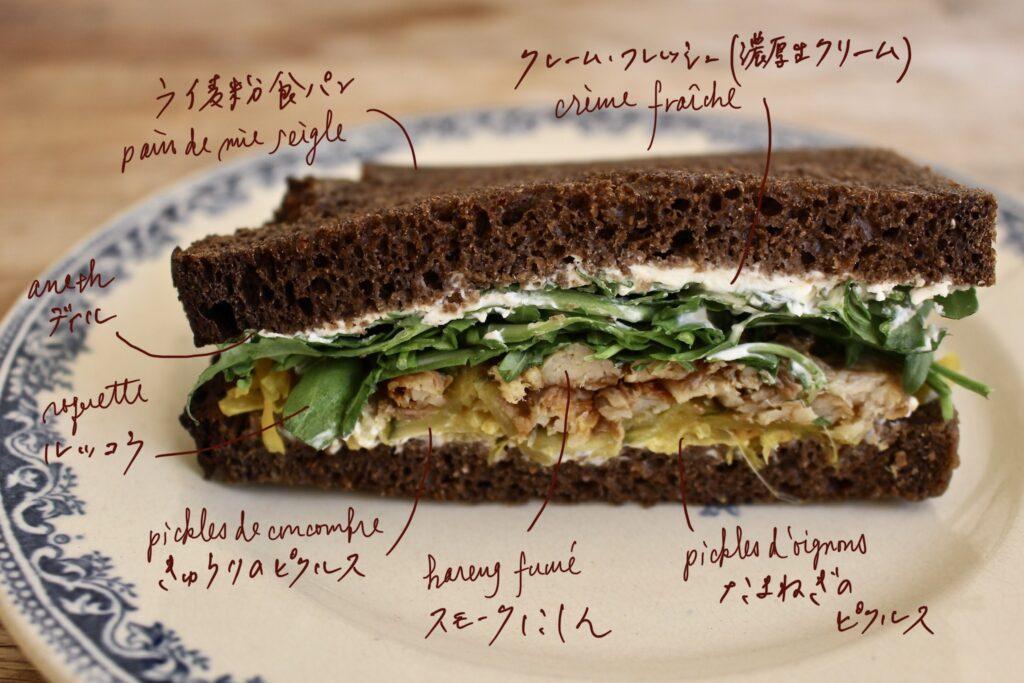 ニシン サンドイッチ クレームフレッシュ たまねぎのピクルス
