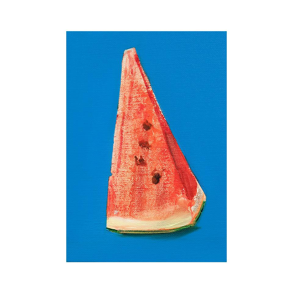 「西瓜」キャンバス、油彩/撮影:村上賀子
