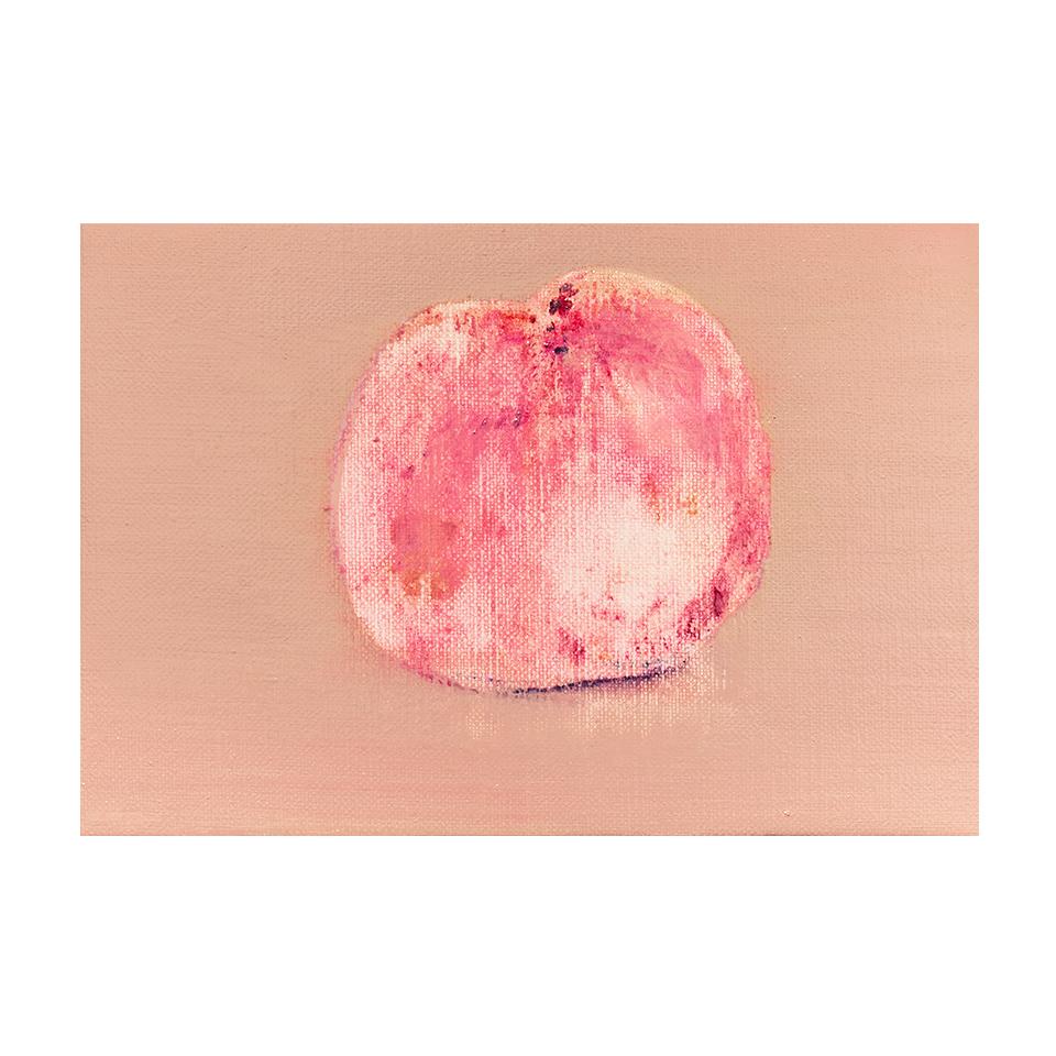 「桃」キャンバス、油彩/撮影:村上賀子