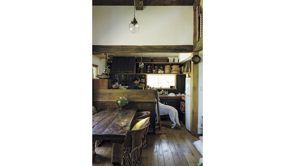 ダイニングテーブルは家具作家、木村二郎のもの。ホワイトシェパードのコハクのごはんも台所で手作りする。妥協しないもの選びを重ね、美意識が行き届いた台所に。