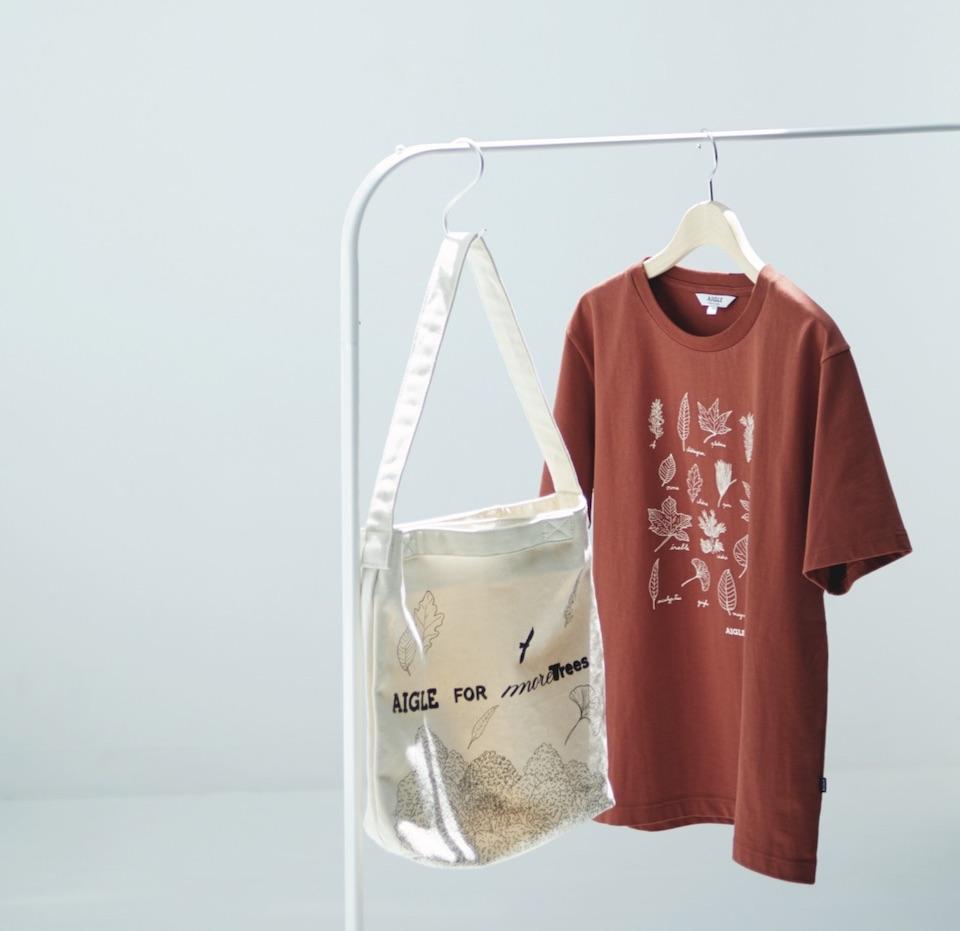 100%オーガニックコットン素材のTシャツ トートバッグ 森林保全団体more treesの活動支援になる限定アイテム。 エーグル
