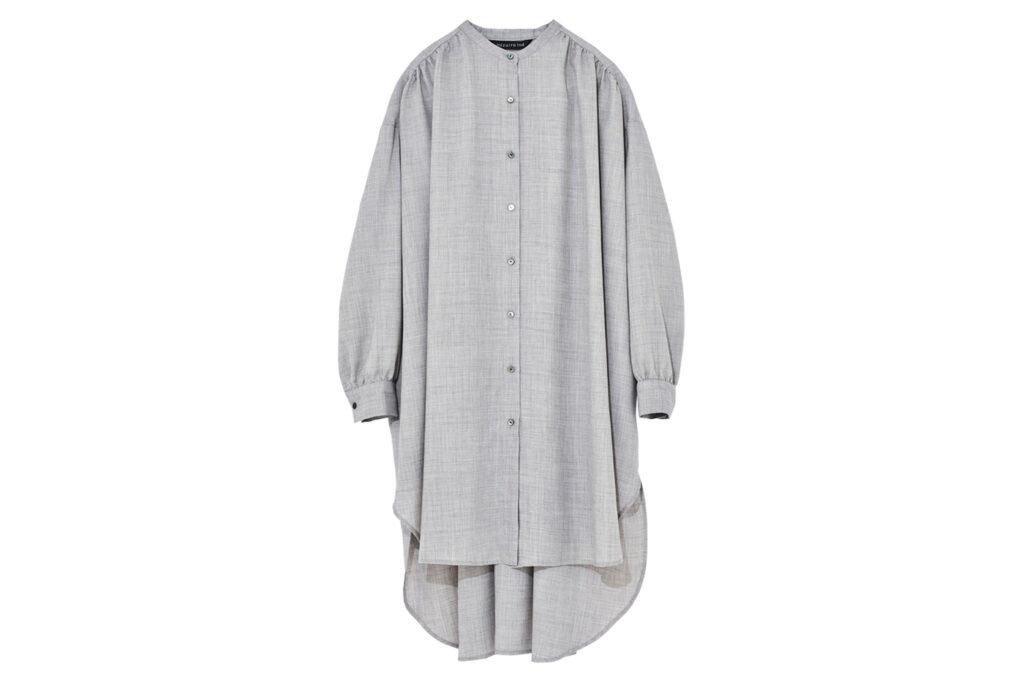 スタンドカラーギャザーシャツワンピース¥19,800
