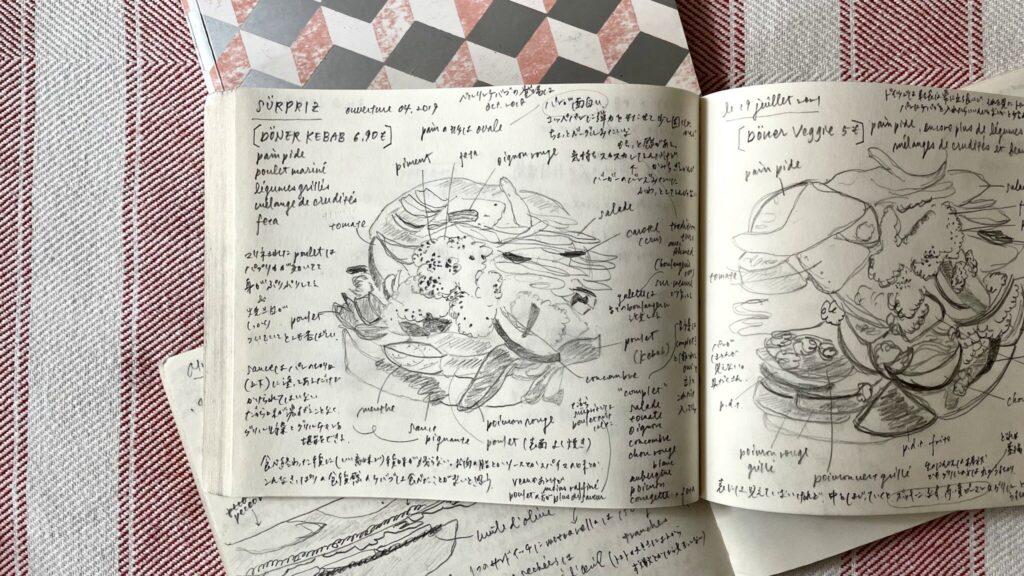 具材を分析した精巧なスケッチを毎回ご紹介。今回登場するのはベルリン版ケバブ。どれもグリル野菜がたっぷり。右ページには圧巻の分解図が!