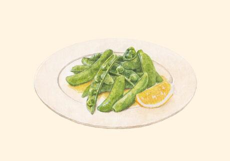 スナップエンドウ 塩とレモンとオリーブオイル