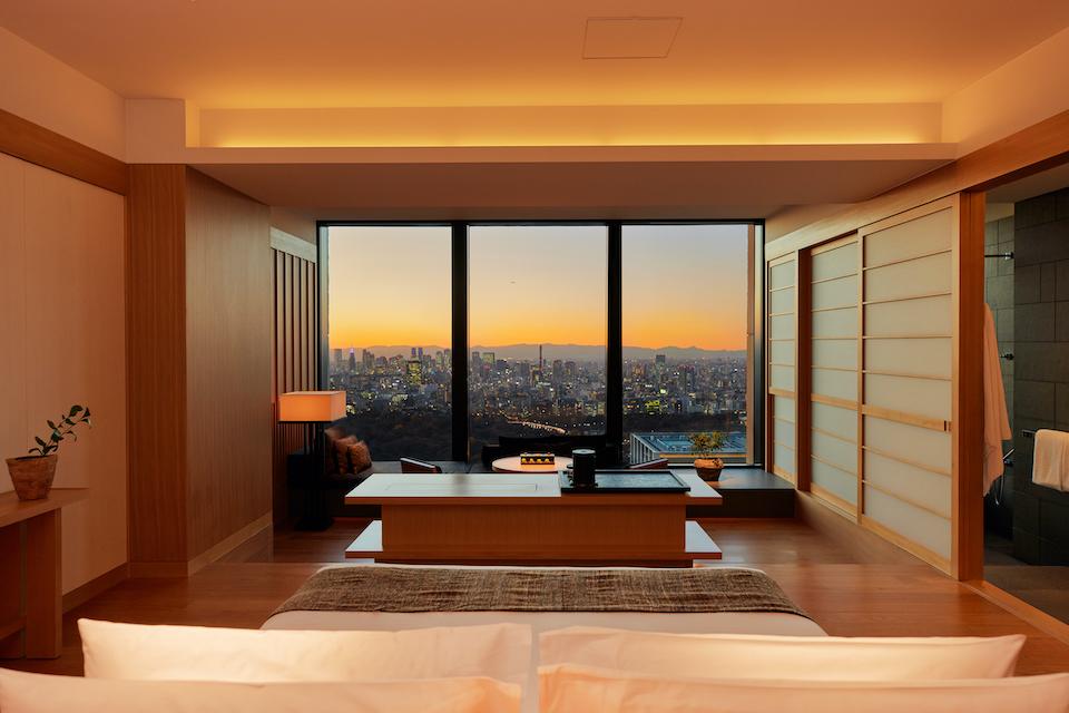客室の窓からは、夕方から夜、そして朝まで様々に表情を変える風景が楽しめる。